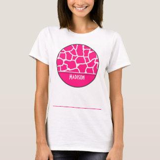 Deep Pink Giraffe Animal Print; Personalized T-Shirt