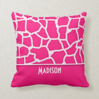 Deep Pink Giraffe Animal Print; Personalized Throw Pillow