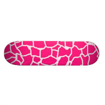 Deep Pink Giraffe Animal Print Skateboard
