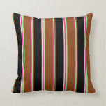 [ Thumbnail: Deep Pink, Green, Brown, Black, and Beige Colored Throw Pillow ]