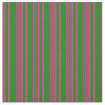 [ Thumbnail: Deep Pink & Green Colored Stripes Pattern Fabric ]