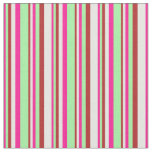 [ Thumbnail: Deep Pink, Green, Red, and White Colored Pattern Fabric ]