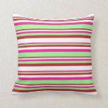 [ Thumbnail: Deep Pink, Green, Red, and White Colored Pattern Throw Pillow ]