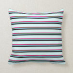 [ Thumbnail: Deep Pink, Green, Sky Blue, Black & Light Cyan Throw Pillow ]