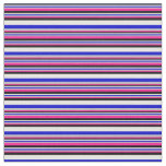 [ Thumbnail: Deep Pink, Grey, Blue, White & Black Lines Fabric ]