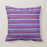 [ Thumbnail: Deep Pink, Grey, Blue, White & Black Lines Pillow ]