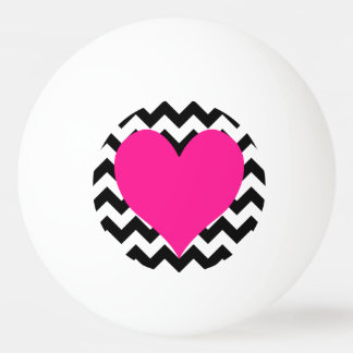Deep Pink Heart on Black and White Zigzag Ping Pong Ball