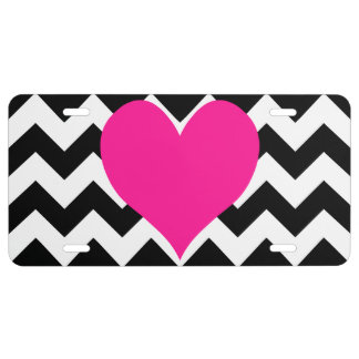 Deep Pink Heart on Black and White Zigzag License Plate