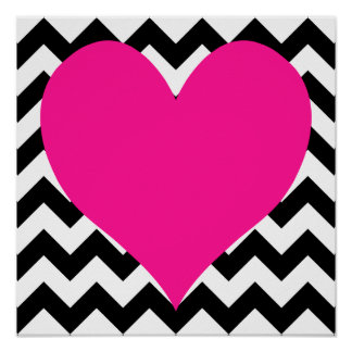 Deep Pink Heart on Black and White Zigzag Poster