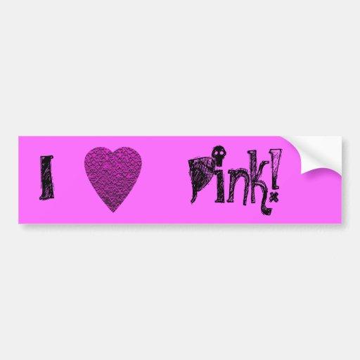 Deep Pink Heart. Patterned Heart Design. Bumper Sticker
