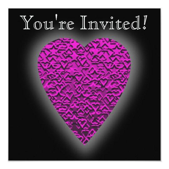 Deep Pink Heart. Patterned Heart Design. Card