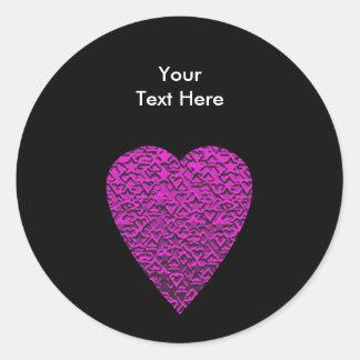 Deep Pink Heart. Patterned Heart Design. Classic Round Sticker