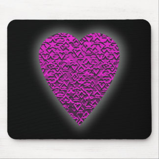 Deep Pink Heart. Patterned Heart Design. Mouse Pad