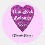 Deep Pink Heart. Patterned Heart Design. Stickers