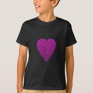 Deep Pink Heart. Patterned Heart Design. T-Shirt