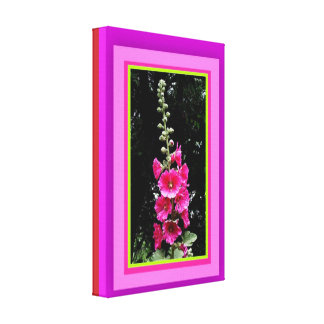 Deep Pink Hollyhocks Spire By Sharles Canvas Print