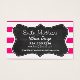 Deep Pink Horizontal Stripes; Chalkboard look Business Card