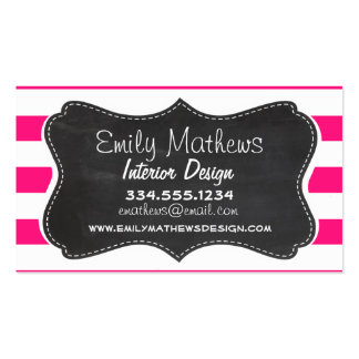 Deep Pink Horizontal Stripes; Chalkboard look Business Card Template