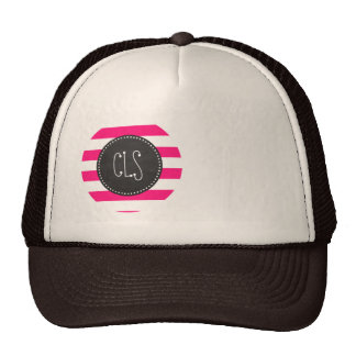 Deep Pink Horizontal Stripes; Chalkboard look Hat