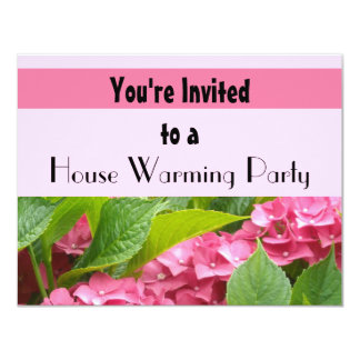 Deep Pink Hydrangea House Warming Party Card
