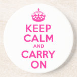 Deep Pink Keep Calm and Carry On Coaster