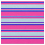 [ Thumbnail: Deep Pink, Light Blue, and Blue Lined Pattern Fabric ]