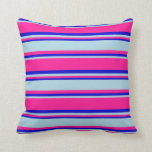 [ Thumbnail: Deep Pink, Light Blue, and Blue Lined Pattern Throw Pillow ]