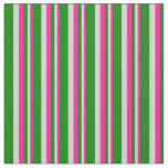 [ Thumbnail: Deep Pink, Light Gray, and Green Colored Stripes Fabric ]