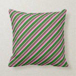 [ Thumbnail: Deep Pink, Light Gray, and Green Colored Stripes Throw Pillow ]
