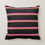 [ Thumbnail: Deep Pink, Light Pink, Brown & Black Colored Throw Pillow ]