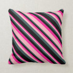 [ Thumbnail: Deep Pink, Light Pink, Dark Slate Gray, and Black Throw Pillow ]