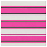 [ Thumbnail: Deep Pink, Light Yellow & Black Lines Fabric ]