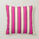 [ Thumbnail: Deep Pink, Light Yellow & Black Lines Throw Pillow ]