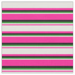 [ Thumbnail: Deep Pink, Light Yellow, Forest Green & Black Fabric ]