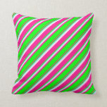 [ Thumbnail: Deep Pink, Lime, Sky Blue, and White Colored Throw Pillow ]