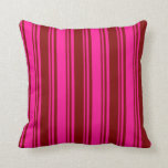[ Thumbnail: Deep Pink & Maroon Colored Lines/Stripes Pattern Throw Pillow ]