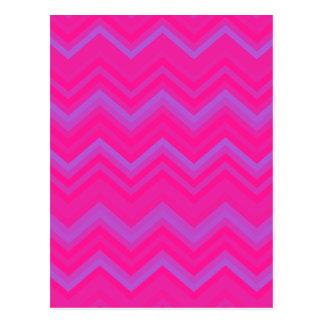 Deep Pink & Medium Orchid Zigzag Chevron Pattern Postcard