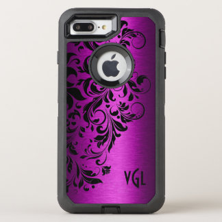 Deep Pink Metallic Texture & Black Floral Lace OtterBox Defender iPhone 7 Plus Case
