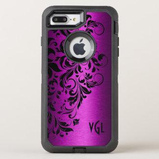 Deep Pink Metallic Texture & Black Floral Lace OtterBox Defender iPhone 8 Plus/7 Plus Case