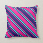 [ Thumbnail: Deep Pink, Midnight Blue, Light Sky Blue & Cyan Throw Pillow ]