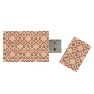 Deep Pink Moorish Pattern - USB Thumb Drive Wood USB 2.0 Flash Drive