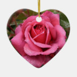 Deep Pink Morning Rose Double-Sided Heart Ceramic Christmas Ornament