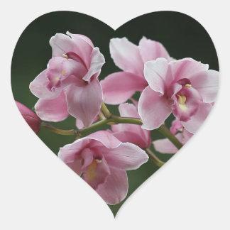 deep pink orchid heart sticker