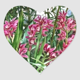 Deep Pink Orchids Within the Greens Heart Sticker