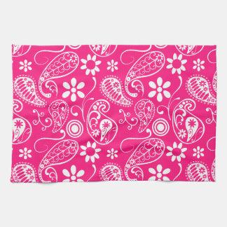 Deep Pink Paisley Hand Towels