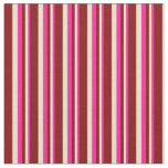 [ Thumbnail: Deep Pink, Pale Goldenrod & Maroon Colored Lines Fabric ]