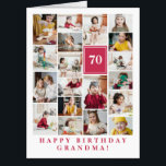 "Deep Pink Photo Collage Happy Birthday Grandma Card<br><div class=""desc"">Wish grandma a happy birthday with this jumbo photo collage birthday card to which you can add 19 photos of the grand kids,  and grandmas age in big white letters against a deep pink background.</div>"