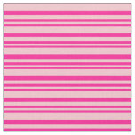 [ Thumbnail: Deep Pink & Pink Colored Stripes Pattern Fabric ]