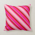 [ Thumbnail: Deep Pink, Pink, Maroon & Red Colored Lines Pillow ]