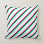 [ Thumbnail: Deep Pink, Purple, Green, Aquamarine & Mint Cream Throw Pillow ]